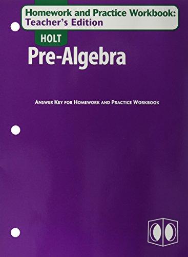 9780030697012: Holt Pre-Algebra: Homework and Practice Workbook, Teacher's Edition