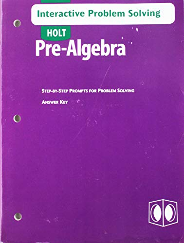 9780030697029: Holt Pre-Algebra: Interactive Problem Solving with Answer Key