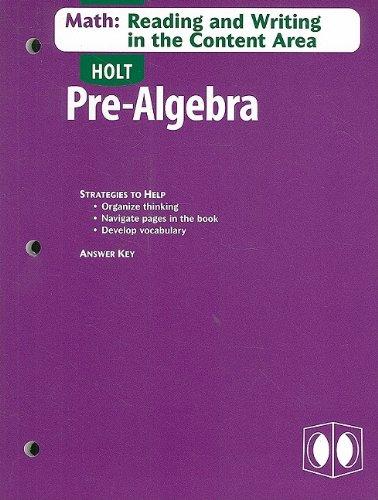9780030698019: Holt Algebra 2: Reading Writing Content Area Pre-Algebra