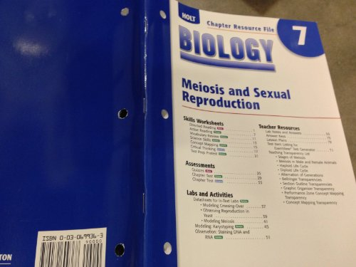 9780030699368: Biology: Meiosis and Sexual Reproduction (Chapter Resource File 7)
