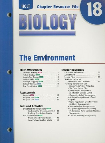 9780030699498: Holt Biology Chapter 18 Resource File: The Environment
