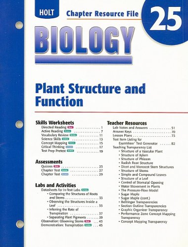 9780030699580: Holt Biology Chapter 25 Resource File: Plant Structure and Function
