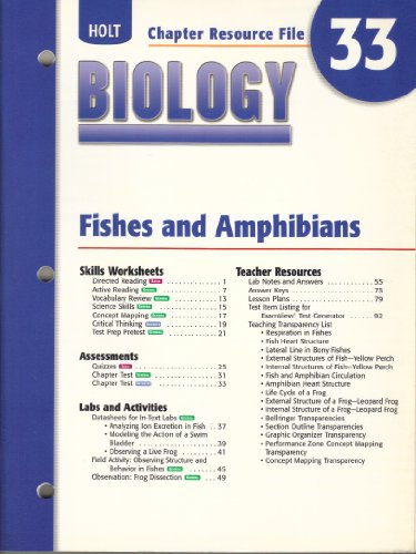 9780030699689: Holt Biology Chapter Resource File, Ch. 33: Fishes and Amphibians