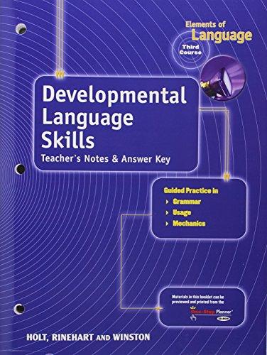 9780030700712: Developmental Language Skills Teacher's Notes & Answer Key (Elements of Language, 3rd Course, Grade 9)