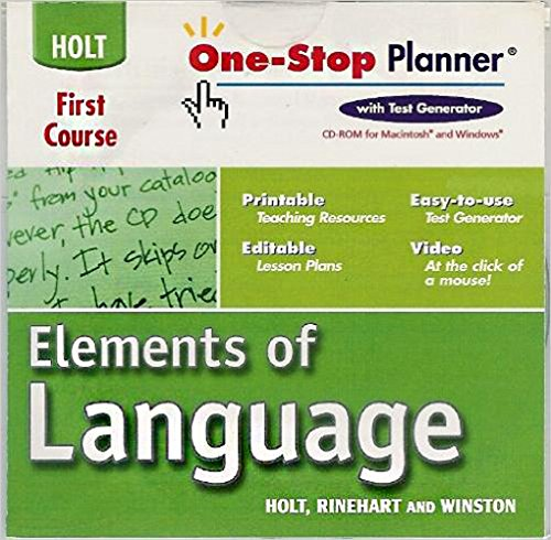 9780030702389: Elements of Language: One-Stop Planner CD-ROM Grade 7