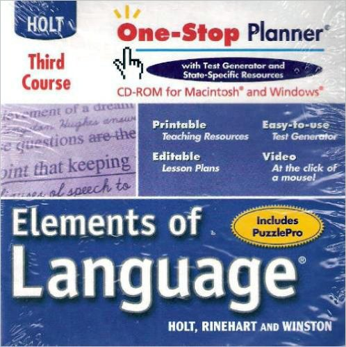 9780030702631: Elements of Language, 3rd Course, One-Stop Planner (CD-Rom for Macintosh and Windows)