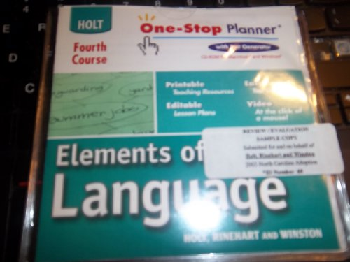 9780030702648: One-Stop Planner with Test Generator (CD-ROM) (Holt Elements of Language, Fourth Course)