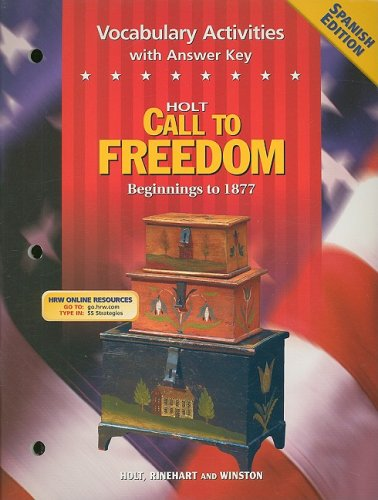 9780030708763: Holt Call to Freedom Vocabulary Activities with Answer Key, Spanish Edition: Beginnings to 1877