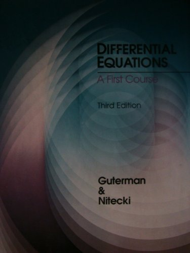 9780030728785: Differential Equations: A First Course, Third Edition