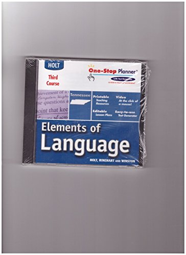 9780030737749: One-Stop Planner CD-ROM Tennessee Edition Grade 9 (Blue) (Holt Elements of Language Third Course)