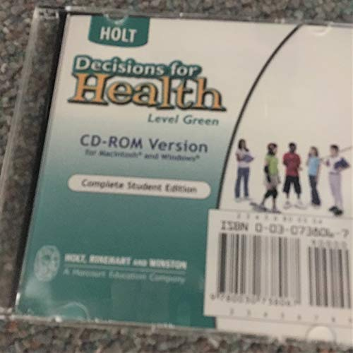 9780030738067: Decisions for Health: Student Edition CD-ROM for Macintosh and Windows Level Green 2004