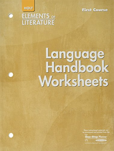 9780030739187: Elements of Literature: Language Handbook Worksheets Grade 7 First Course