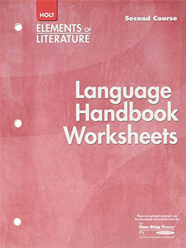 9780030739194: Language Handbook Worksheets Holt Elements of Literature Second Course Grade 8