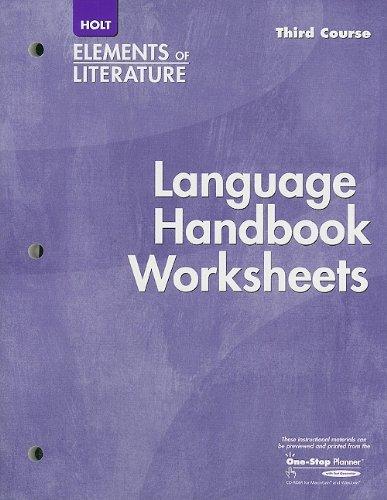 9780030739217: Elements of Literature Language Handbook Worksheet, Third Course