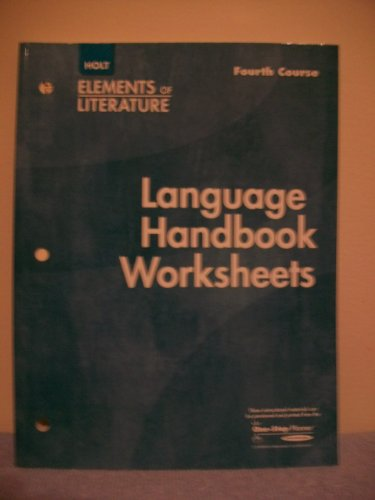 9780030739231: Elements of Literature, 4th Course: Language Handbook Worksheets, Grade 10