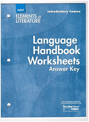 9780030739279: Elements of Literature: Language Handbook Worksheets Answer Key, Introductory Course