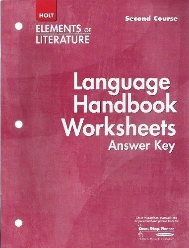 Language Handbook Worksheets Answer Key Elements of: HOLT, RINEHART AND