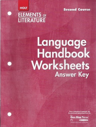 9780030739293 language handbook worksheets answer key elements of literature second course. Black Bedroom Furniture Sets. Home Design Ideas