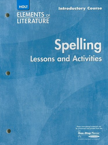 9780030739477: Holt Spelling Elements of Literature Lessons and Activities Introductory Course