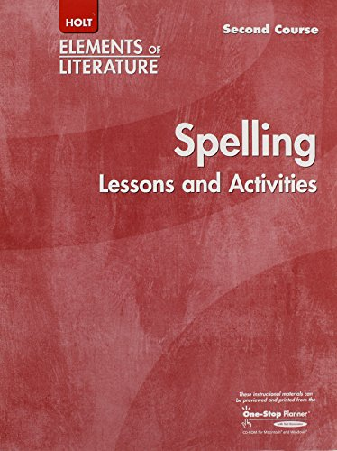 9780030739491: Holt Elements of Literature Second Course Spelling Lessons and Activities, Grade 8