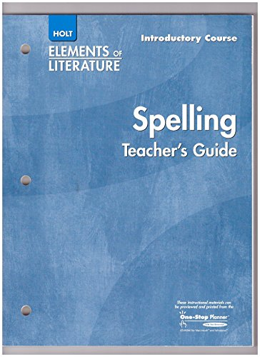 9780030739514: Elements of Literature: Spelling Teacher's Manual Grade 6 Introductory Course