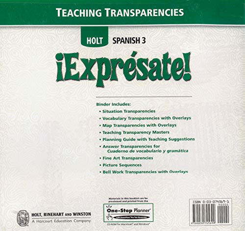 9780030745690: ¡Exprésate!: Teaching Transparencies with Planning Guide Level 3