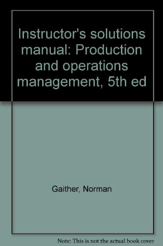 9780030746246: Instructor's solutions manual: Production and operations management, 5th ed
