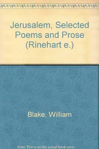 9780030765957: Jerusalem, Selected Poems and Prose (Rinehart e.)