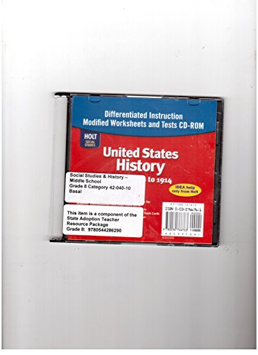 9780030766763: United States History: Beginnings to 1914: Differentiated Instruction Worksheets CD-ROM with Answer Key