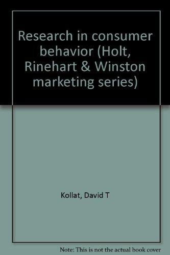9780030773556: Research in Consumer Behavior.