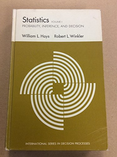 9780030778056: Statistics: v. 1: Probability, Inference and Decision (International series in decision processes)
