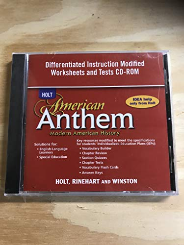 9780030778629: American Anthem, Modern American History: Differentiated Instruction Modified Worksheets and Tests CD-ROM