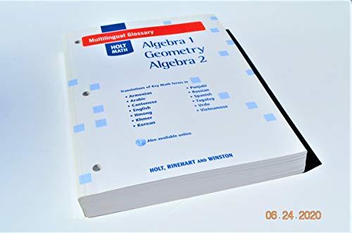 9780030778995: Multilingual Glossary Holt Math Algebra 1, Geometry, Algebra 2