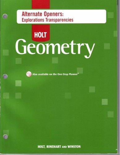 Holt Geometry Alternate Openers: Explorations Transparencies. (Paperback): Holt