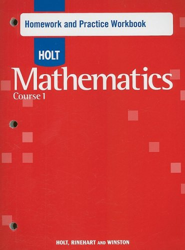 9780030782428: Holt Mathematics: Homework Practice Workbook Course 1