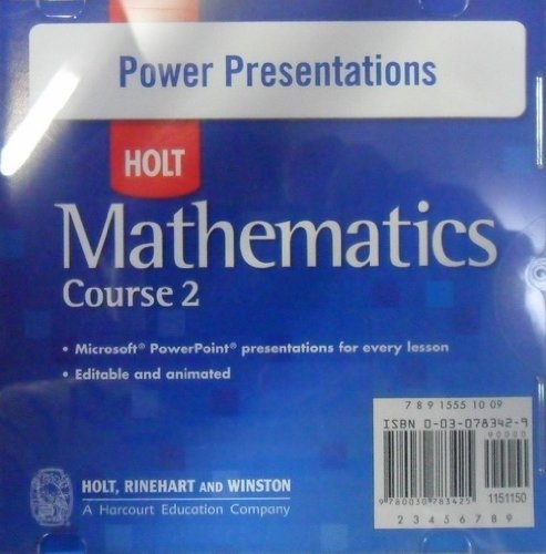 Power Presentations CD-ROM for Holt Mathematics, Course: Holt