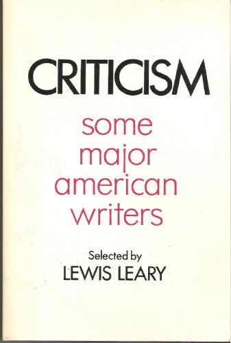 9780030783609: Criticism; some major American writers