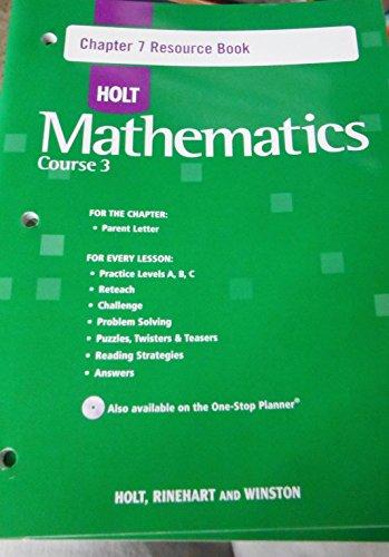 9780030783975: Holt Mathematics: Course 3 - Chapter 7 Resource Book