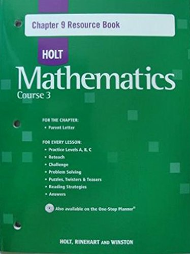 9780030783999: Holt Mathematics: Chapter 9 Resources Book with Answers Course 3