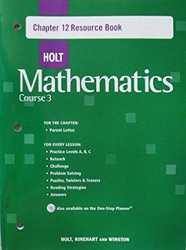 9780030784033: Holt Mathematics, Course 3, Chapter 12, Resource Book
