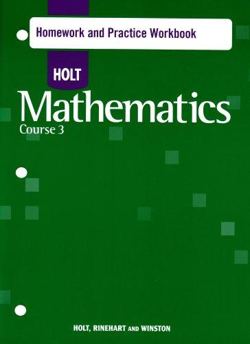 9780030784644: Holt Mathematics: Homework Practice Workbook Course 3