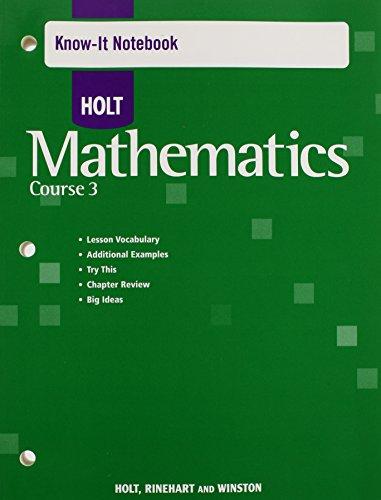 9780030784712: Holt Mathematics: Know-It Notebook Course 3