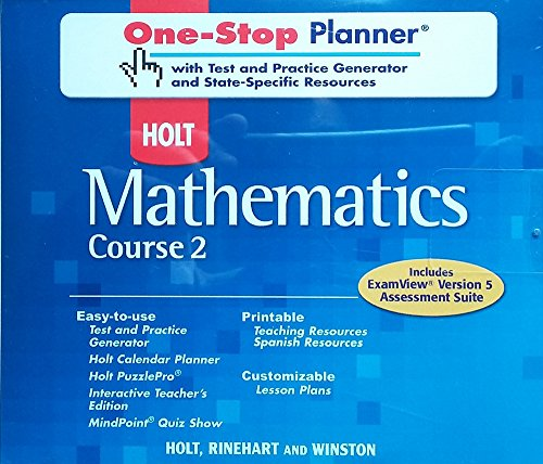 One-Stop Planner CD-ROM for Holt Mathematics, Course 2: Holt