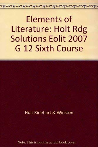 9780030790430: Elements of Literature: Reading Solutions Sixth Course