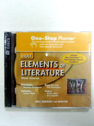 9780030790478: Elements of Literature: One Stop Planner with Test Generator and State Specific Resources CDROM Grade 7 First Course