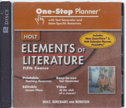 9780030790522: Elements of Literature: One Stop Planner with Test Generator and State Specific Resources CDROM Grade 11 Fifth Course
