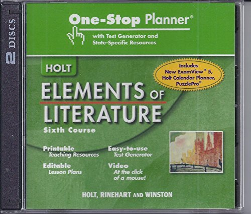 9780030790539: Elements of Literature: One Stop Planner with Test Generator and State Specific Resources CDROM Grade 12 Sixth Course