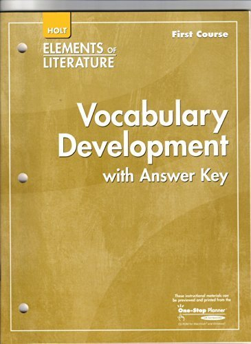 9780030790645: Holt Elements of Literature, Vocabulary Development with Answer Key, First Course Grade 7