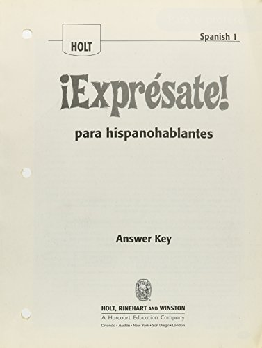 9780030796319: ¡Exprésate!: Expresate para hispanoblantes Teacher's Edition with Answer Key Levels 1A/1B/1
