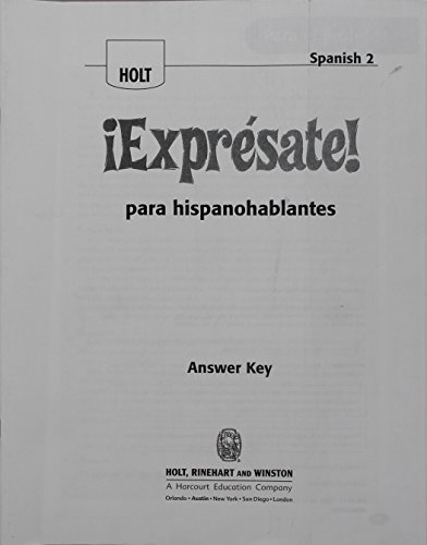 9780030796333: ?Expr?sate!: Expresate para hispanoblantes Teacher's Edition with Answer Key Level 2